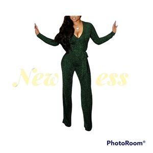 Women Casual Sexy V Neck Sparkly Jumpsuit Long Sleeve Onesie Party Emeral Medium